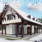Dom drewniany w zimowej odsłonie